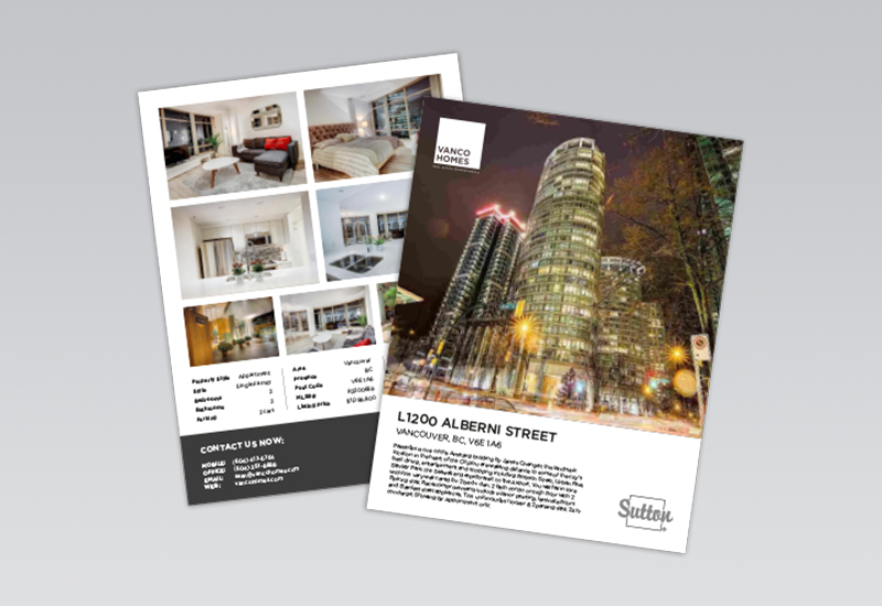 Vanco Homes 2 Page Feature Sheet